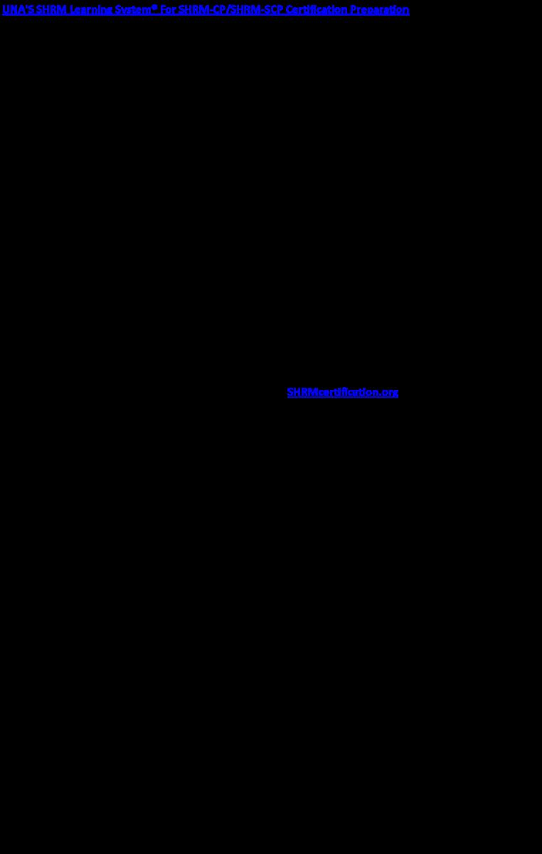 Shrm Certification At Una Online Format Shoals Chapter Shrm